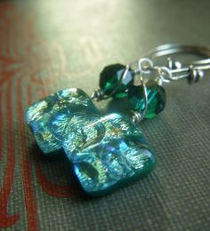Green Dichroic Earrings on Sterling  Fused Emerald by beadstylin, $16.50