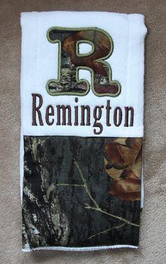 Custom Mossy Oak camo burp cloth by KenaKreations on Etsy, $12.00