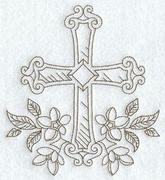Cross with Flowers (Redwork)