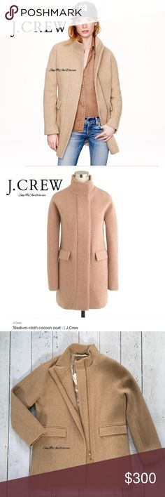 "J. Crew NWT tan stadium cocoon coat NWT J. Crew heathered tan lined stadium coat in a cocoon silhouette made with their exclusive stadium-cloth, made especially for J. Crew by Italy's famed Nello Gori mill. Inspired by the fabric used in old-school stadium blankets, it adds warmth without the bulk. Zip closure, 2 front pockets & 1 interior as shown. Retailed at $350, price firm w/ the extra postage & fees I will have to pay. Approx 33"" long & 24"" across bust. Please read my bio regarding…"