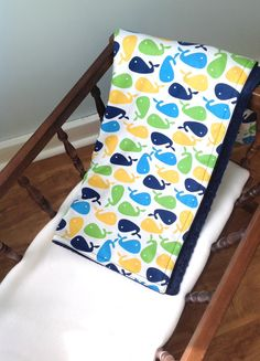 Nautical Baby blanket for boy or girl with blue, green, yellow and navy whales; baby boy blanket; baby bandana by Rosebayquilts on Etsy