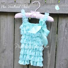 Pink Baby Boutique - Baby Girl Aqua Lace Petti Romper