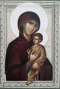 Byzantine Icons, Byzantine Art, Religious Images, Religious Art, Virgin Mary Statue, Paint Icon, Christian Artwork, Orthodox Icons, Catholic