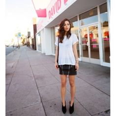 62961f093a33e9 Rumi Neely of Fashion Toast has the ultimate LA girl wardrobe    wearing an  oversized white t-shirt and a black mini skirt