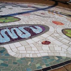 Greenpoint Biodiversity Garden A mosaic of the inside of a plant cell! Picnic Blanket, Outdoor Blanket, Plant Cell, Mosaics, Contemporary, Rugs, Garden, Plants, Home Decor