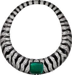 "CARTIER. ""Zébrures"" Necklace - white gold, one 91.01-carat cushion-shaped cabochon-cut emerald from Zambia, onyx, brilliant-cut diamonds. #Cartier #CartierMagicien #HauteJoaillerie #HighJewellery #FineJewelry #Emerald #Diamonds #ZebraPattern #Neckace"