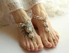 Pearl Barefoot Sandals Wedding Sandals by DestinationBarefoot Ivory Sandals, Beaded Sandals, Bare Foot Sandals, Foot Jewelry Wedding, Beach Wedding Shoes, Beach Shoes, Ankle Jewelry, Body Jewelry, Jewellery