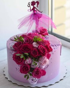 Image may contain: flower Happy Birthday Cakes For Women, 15th Birthday Cakes, Cupcake Birthday Cake, Birthday Cake Girls, Cupcake Cakes, Cake Decorating With Fondant, Cake Decorating Designs, Cake Designs, Bolo Barbie