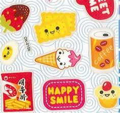 food stickers with happy faces makes me smile..