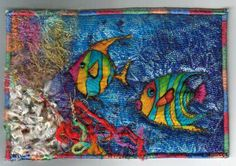 Beautiful fish fabric postcard