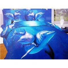 Romantic Ssea World 100% Cotton Animal Print Bedding Sets