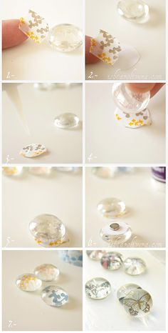 Easy DIY Projects with Washi Tape | Washi Tape Crytal Pebble Magnets by DIY Ready at http://diyready.com/100-creative-ways-to-use-washi-tape/