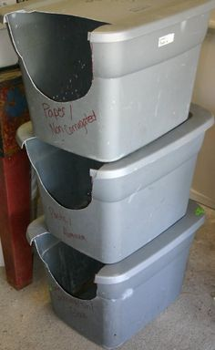 Super easy DIY stacking recycling bins. I'll keep an eye out for bright color bins on sale, maybe cover the cut edges with bright contrasting duct tape.
