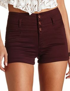 Refuge Cuffed High-Waisted Shorts: Charlotte Russe