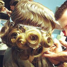 gatsby hair and makeup in the making, backstage at tia cibani fall 2013.