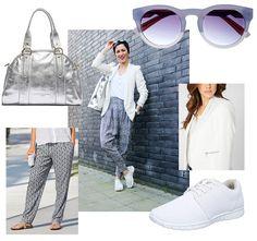 Madelaines Business-Look mit Sneakers, weißem Blazer und lockerer Harmshose