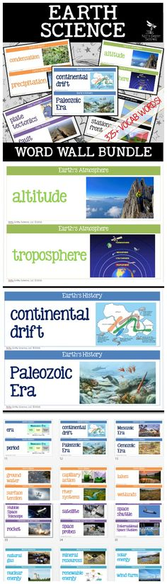 Over 340 vocabulary terms to use for your Earth Science Word Wall.