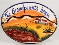 """Mexican Ceramic Hanging Plaque Folk Art """"The Grand Parents House"""" Mexico"""