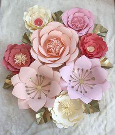 Large 8 Piece Nursey Set Paper Flowers by ArielleEliseDesigns