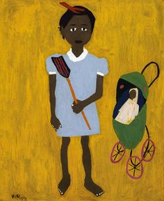 Li'L Sis, William H. Johnson, 1944, oil on paperboard, 26 x 21 1/4 in. (66.1 x 54.0 cm.), Smithsonian American Art Museum, Gift of the Harmon Foundation, 1967.59.1023
