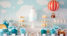 Amazing hot air balloon dessert table, This would be rad for a baby shower.