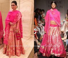 Hop pink silk bridal Lehenga Designs