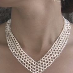 Woven seed pearl V necklace, by Marina J