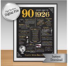 90th Birthday Print Instant Download 1926 Events & by JJsDesignz