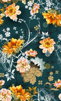 watercolor orange hand painted flowers in combination with graphic motifs on dark background Cute Wallpaper Backgrounds, Love Wallpaper, Pattern Wallpaper, Cute Wallpapers, Iphone Wallpaper, Botanical Prints, Floral Prints, Motif Floral, Vintage Flowers