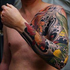 Japanese tattoo sleeve by @ishpiricatattoo. #japaneseink #japanesetattoo #irezumi #tebori #colortattoo #colorfultattoo #cooltattoo #largetattoo #armtattoo #chesttattoo #tattoosleeve #fishtattoo #koitattoo #newschool #newschooltattoo #blackwork #blackink #blacktattoo #wavetattoo #naturetattoo