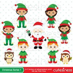 Christmas Elf Digital Clipart Christmas Elve Clipart by Cutesiness