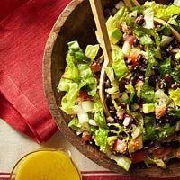 California Chipotle Chopped Salad from Fitness magazine: quinoa, black beans, with an agave lime dressing. yum!