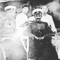 "A rare photograph of Grand Duchesses Olga and Tatiana Nikolaevna Romanova of Russia aboard the Imperial Royal yacht,the Standart,c.a. 1913. ""AL"""