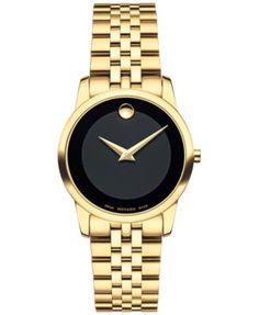 Movado Women's Swiss Museum Classic Gold PVD Stainless Steel Bracelet Watch 28mm 0607005 | macys.com