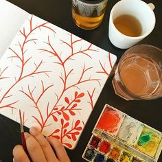 Starting a new watercolor pattern on the last page of this handbook watercolor…