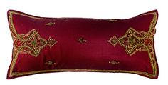 "Embroidered Beaded Arabesque Silk Burgundy Lumbar Pillow Cover 10"" x 22"" Burgundy Gold Steel Paisley http://www.amazon.com/dp/B018SUVCSM/ref=cm_sw_r_pi_dp_e9Fxwb1X2N49X"