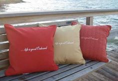 "The ""life is good onboard"" pillow says it all-custom fabrics & trims to make it your own- a great accent pillow for anywhere- and other great options from here"