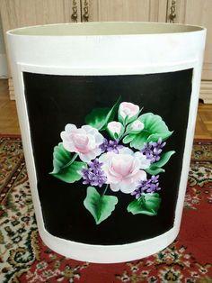 Hand painted waste bin. Hazel Lynn