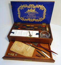 Circa 1863. Oh my, would I LOVE to own this beautiful and useful paint box. Lovely!