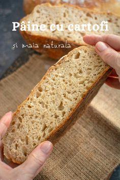 Rețeta de pâine cu cartofi și maia naturală. O pâine cu miez aerat, catifelat și ușor umed, care se păstrează proaspătă multe zile. Bread, Food, Home, Brot, Essen, Baking, Meals, Breads, Buns