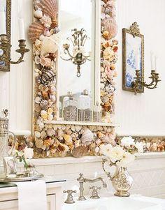 CHIC COASTAL LIVING's  2011 Ultimate Beach House Interior Decorator {Phoebe Howard}  :: Shell mirror