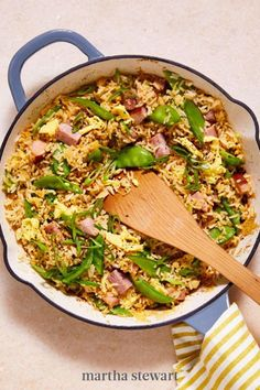 Even picky eaters will love this colorful and crunchy dinner of Ham and Snow-Pea Fried Rice. This speedy recipe uses up both leftover Easter ham and leftover rice, we call that a double win. #marthastewart #recipes #recipeideas #easterfood #easterrecipes #eastertreats #easterideas Speedy Recipes, Easter Ham, Leftover Rice, Easter Treats, Easter Recipes, Picky Eaters, Creative Food, Recipe Using, Fried Rice