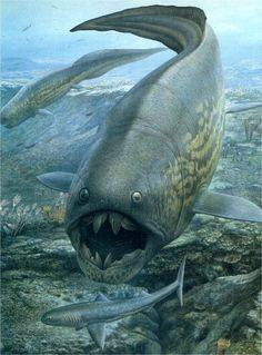 Dunkleosteus and Cladoselache by John Sibbick