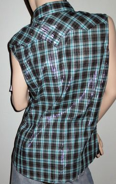 Wrancher by Wrangler Western Wear Sleeveless Black Blue Plaid Shirt LG New Cowgirl ~ ON SALE ~