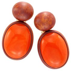 HEMMERLE A Pair of Coral Ear Clips | From a unique collection of vintage clip-on earrings at http://www.1stdibs.com/jewelry/earrings/clip-on-earrings/