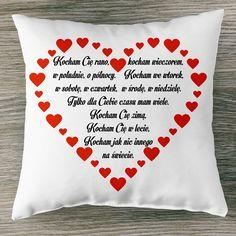 Kocham Cię rano, kocham wieczorem #poduszka #poduszkaznapisem #walentynki #miłość #kochamcie #dlachlopaka #dladziewczyny #dlaniego #dlaniej #prezentdlaniego #prezentdlaniej #prezentwalentynkowy #love #świętozakochanych #iloveyou #instagirl #poczpol #pomysłnaprezent Motto, Valentines, Valentine's Day Diy, Valentines Day, Valentine's Day, Mottos