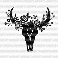 cow skull black, svg, cut, file, decal, bull, horns, country, silhouette, head, flowers, floral, leaves, decal, vector, design by ChameleonCuttables on Etsy https://www.etsy.com/listing/471424652/cow-skull-black-svg-cut-file-decal-bull