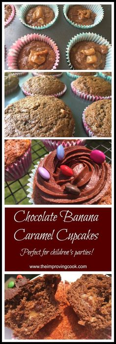 The Improving Cook- Chocolate Banana Caramel Cupcakes. Use up ripe bananas to make this delicious banana and chocolate cupcakes with a hidden caramel filling and a chocolate fudge icing. Perfect for children's parties.