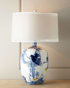 Floral Chinoiserie Table Lamp by John Richard Collection - Updated blue and white porcelain base with touches of yellow, silk shade. Chinoiserie, Enchanted Home, Garden Lamps, Ceramic Table Lamps, Blue Table Lamp, Yellow Table, Lampe Led, Unique Lamps, Bedside Lamp