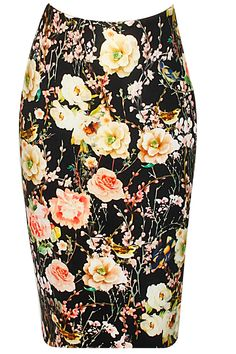 Black floral and bird print pencil skirt available only at Pernia's Pop-Up Shop.